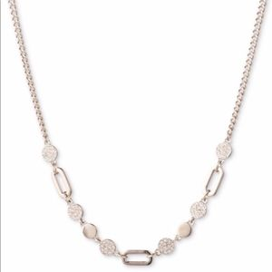 New Dkny Gold & Crystal Disks & Links Necklace